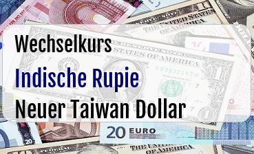Indische Rupie in Neuer Taiwan Dollar