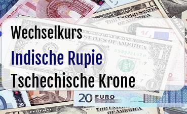 Indische Rupie in Tschechische Krone