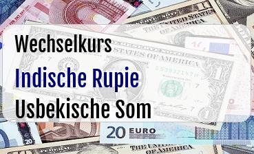 Indische Rupie in Usbekische Som