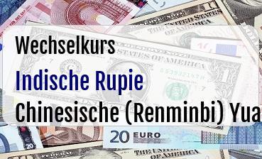 Indische Rupie in Chinesische (Renminbi) Yuan