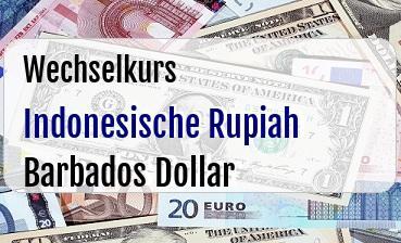 Indonesische Rupiah in Barbados Dollar