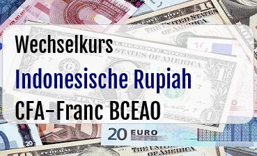 Indonesische Rupiah in CFA-Franc BCEAO