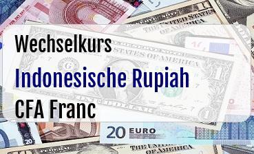 Indonesische Rupiah in CFA Franc