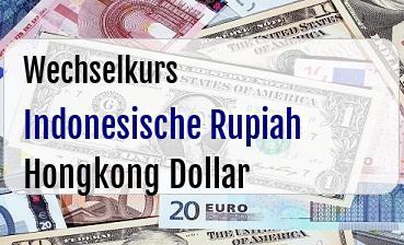Indonesische Rupiah in Hongkong Dollar