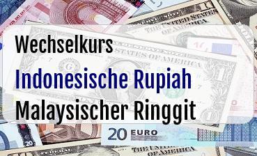 Indonesische Rupiah in Malaysischer Ringgit