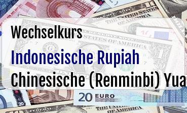 Indonesische Rupiah in Chinesische (Renminbi) Yuan