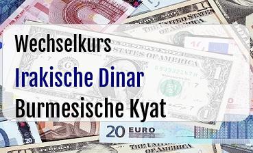Irakische Dinar in Burmesische Kyat