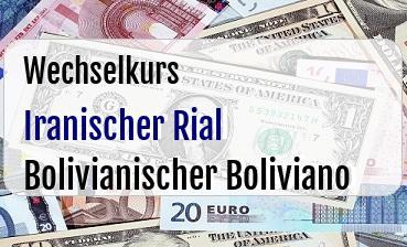 Iranischer Rial in Bolivianischer Boliviano