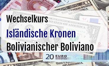 Isländische Kronen in Bolivianischer Boliviano