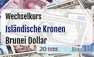 Isländische Kronen in Brunei Dollar