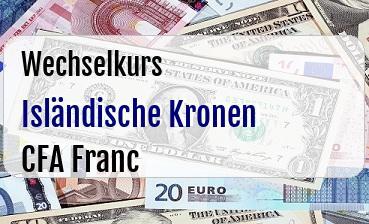 Isländische Kronen in CFA Franc