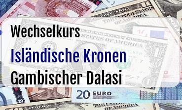 Isländische Kronen in Gambischer Dalasi