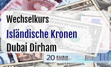 Isländische Kronen in Dubai Dirham
