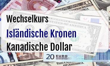 Isländische Kronen in Kanadische Dollar