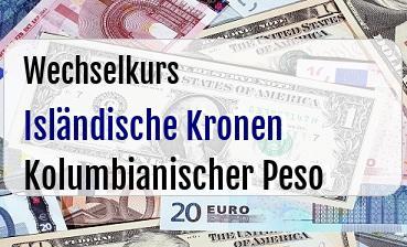 Isländische Kronen in Kolumbianischer Peso
