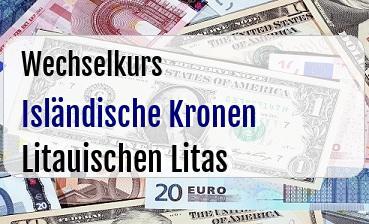 Isländische Kronen in Litauischen Litas