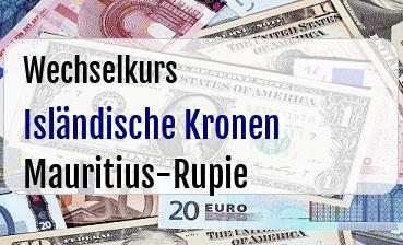 Isländische Kronen in Mauritius-Rupie