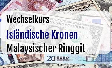 Isländische Kronen in Malaysischer Ringgit