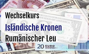 Isländische Kronen in Rumänischer Leu