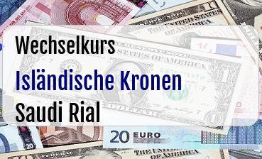 Isländische Kronen in Saudi Rial