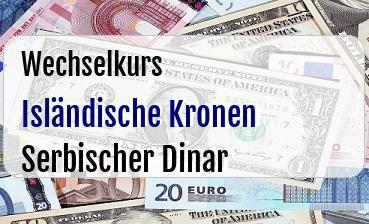 Isländische Kronen in Serbischer Dinar