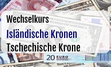 Isländische Kronen in Tschechische Krone