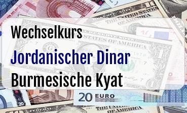 Jordanischer Dinar in Burmesische Kyat