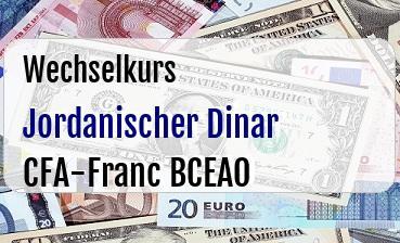 Jordanischer Dinar in CFA-Franc BCEAO