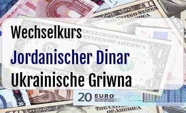 Jordanischer Dinar in Ukrainische Griwna