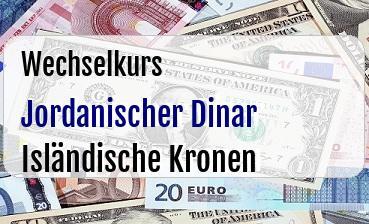 Jordanischer Dinar in Isländische Kronen