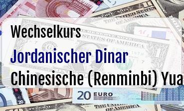 Jordanischer Dinar in Chinesische (Renminbi) Yuan