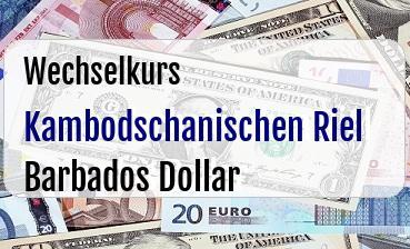 Kambodschanischen Riel in Barbados Dollar