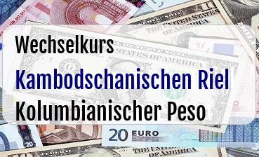 Kambodschanischen Riel in Kolumbianischer Peso