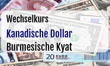 Kanadische Dollar in Burmesische Kyat