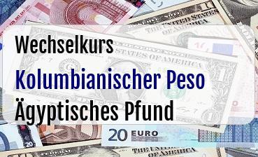 Kolumbianischer Peso in Ägyptisches Pfund