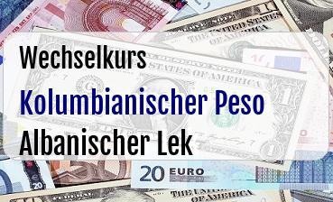 Kolumbianischer Peso in Albanischer Lek