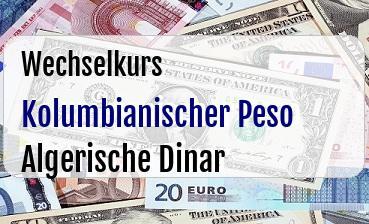 Kolumbianischer Peso in Algerische Dinar