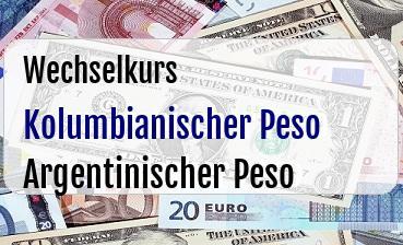 Kolumbianischer Peso in Argentinischer Peso
