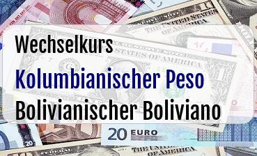 Kolumbianischer Peso in Bolivianischer Boliviano