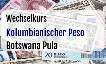 Kolumbianischer Peso in Botswana Pula