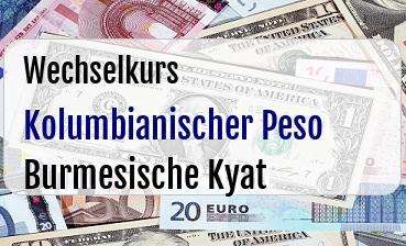 Kolumbianischer Peso in Burmesische Kyat