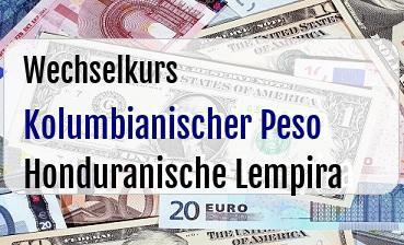 Kolumbianischer Peso in Honduranische Lempira