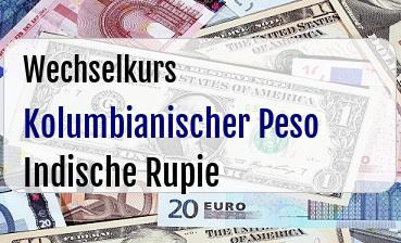 Kolumbianischer Peso in Indische Rupie