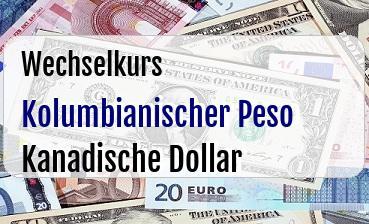 Kolumbianischer Peso in Kanadische Dollar