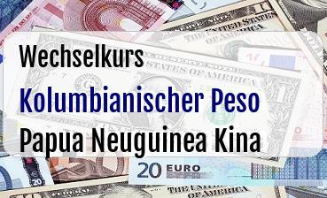 Kolumbianischer Peso in Papua Neuguinea Kina