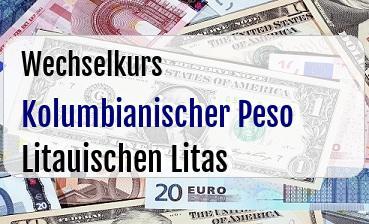 Kolumbianischer Peso in Litauischen Litas
