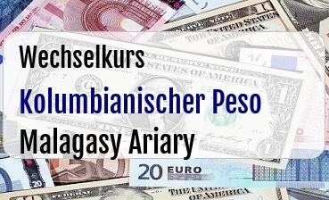Kolumbianischer Peso in Malagasy Ariary