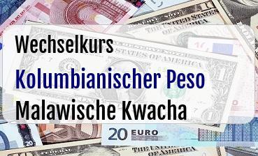 Kolumbianischer Peso in Malawische Kwacha