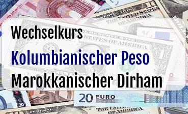 Kolumbianischer Peso in Marokkanischer Dirham