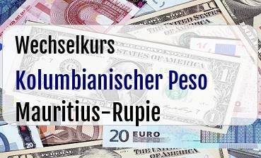 Kolumbianischer Peso in Mauritius-Rupie
